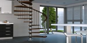 escalier modulable en bois et en métal