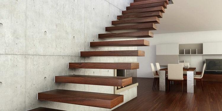 escalier suspendu en bois